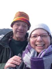 Ken and Cara hiking on San Juan Island