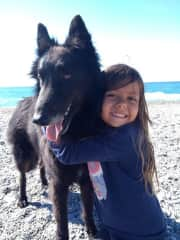 Paco with our youngest child in Spain.