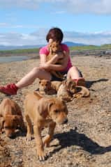 """Me and my grand""""babys"""" some years ago, loving ridgebacks and challenging dogs"""