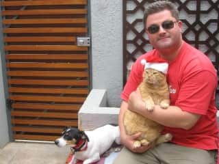 Rob with our previous cat Snippy and friends' Jack Russell Jet