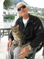 My husband with our cat Silver