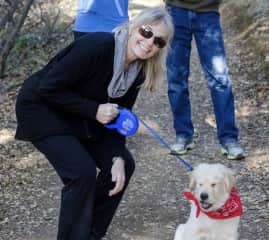 Cynthia with the adorable pup, Abbot.