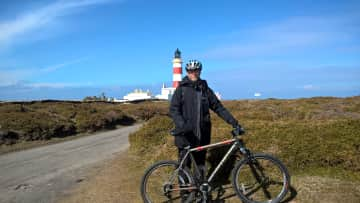 Ray and bike in the Isle of Man.