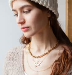 Modeling the jewelry I made for Rebekah Brooks, a local designer based in Northampton, MA.