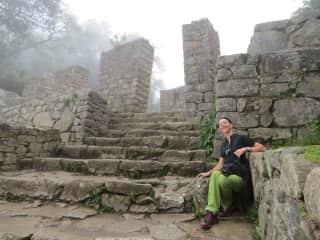 Relaxing at the Sun Gate,  Machu Picchu