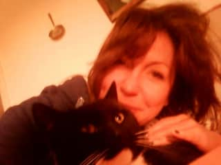 With my beloved Lulu, my mum's cat who very sadly passed away last year.