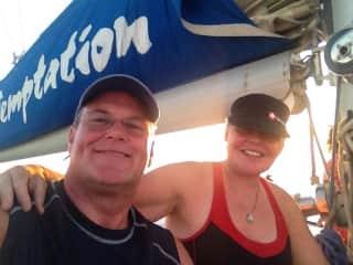 Laura & Chris sailing in Australia.