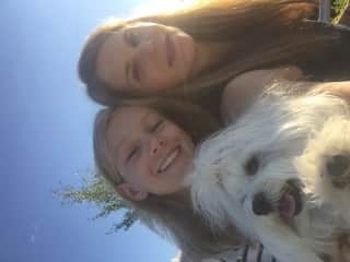 Lise and daughter with Bailey the Havanese