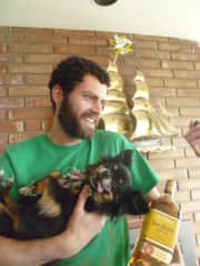 I understand that this photo paints me in an odd light, but please know that I am holding Piper the dog, whom I lived with and whose I saved at least once. He was the real party animal.