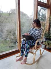 Rosie and Max the cat take in the view, mid Wales house and pet sit
