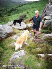 Andy rock hopping on Dartmoor