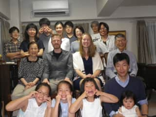 We also love to travel. This photo is from a dinner party in Hiroshima, with many generations of a beautiful family we're lucky to call friends.