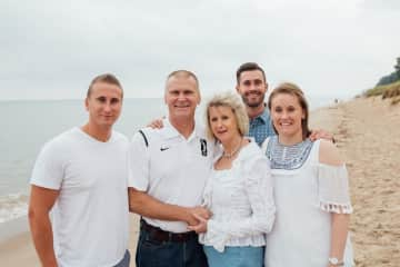 This is my wonderful family. Husband Steve of 33 years, daughter Katie, son Kyle and son Kollin. Unfortunately our little Pepsi girl was ill and not in the picture.