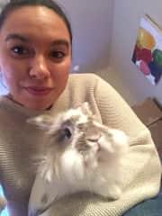 Bun Bun, our very special foster bunny. Ericka LOVES bunnies!