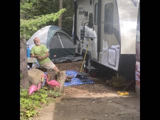 Our Winnebago Micro Minnie campsite in the Adirondacks