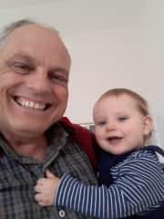 Visiting my Scottish grandson  on his first birthday