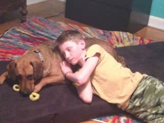 Our 11-year-old son, with his dog