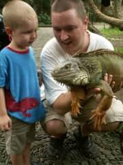 Evan meeting an iguana
