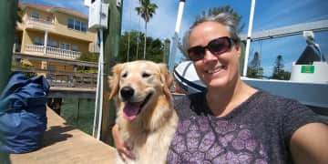 SUPER SWEET Hadley on her dock (FL), a house sit and a boarding at my house client (and big time fav, both her & her humans!)