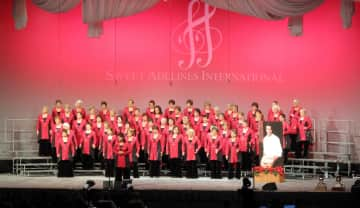 Pacific Empire Chorus at Sweet Adelines Int'l. Competition, Denver.  Me front row, far right.