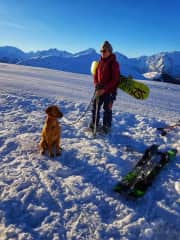 Mali and Me snowboarding