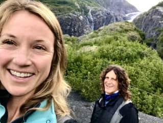 Liz & Jon hiking glaciers in Alaska 2020