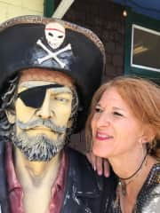 Being silly with a pirate statue