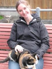Jill with cat on walk