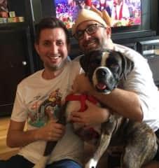 Alex and Derek with foster dog Bellini on Thanksgiving