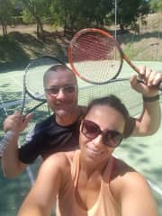Playing tennis in Mexico