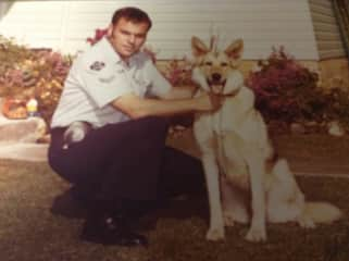 This is a photo of me with my police dog in 1981