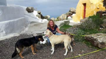 With Bella, Nefeli and Zoi in Santorini