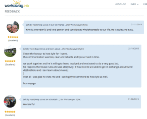 Feedback from past hosts during my Workaway stint :)