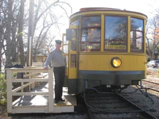 Sam - a volunteer motorman for historic streetcar near our home.
