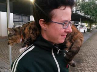 """Me and a neighbouring feline in Cape Town, dubbed """"Shoulder Cat"""" for unknown reasons."""