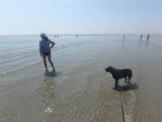 Olive and Donna enjoying the seaside