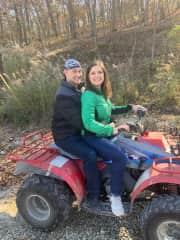 Kristine & Sam on a four wheeler at the Lake of the Ozarks