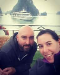 Orla and I enjoying Ha Long Bay, Vietnam