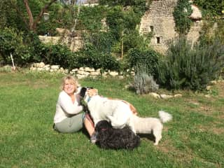 kathie with French dogs