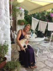 Herdis at our very first long term pet sit in Tala, Cyprus. Boika was a gem and was happy to see us on our return to Tala.  was a gem