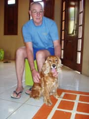 Gary with Meggy at our home stay in Buenos Aires Argentina