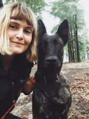 Me and Leah, the beautiful Dutch Shepherd I dogsitted on last summer