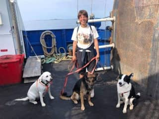 On a boat, with Tao, Daisy and Frida, a dog I was staying with for a week.