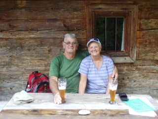 Garry and Doris Richardson after a big hike in the Alps