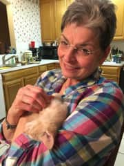 Judy and daughter-in-law's kitty. I don't know who's enjoying this moment more!