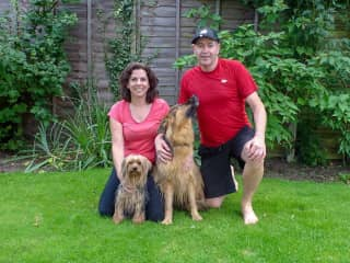 Maura and Terry with Darcy and Daisy, UK