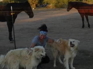 Pamela With Wally, Kobi, and gorgeous Rocky Mountain horses in Arizona