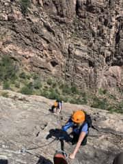 Larry and me climbing the Via Ferrata in Colorado.