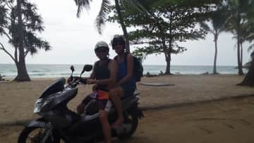 Nick and Marina love travelling.  Here they are exploring Phuket, Thailand on a scooter!