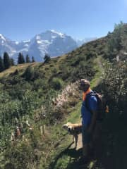 Bill and Oliver loving a hike in the Swiss Alps